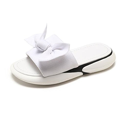 En Non uk4 Blanc Noeud 5 D'été Flop Taille Belle Fond Black Chaussures Papillon Air couleur Plage De Sandales Xy® slip Chic cn37 Flip Eu37 Mode Plat 5 Plein Adolescente Femme F04Caq