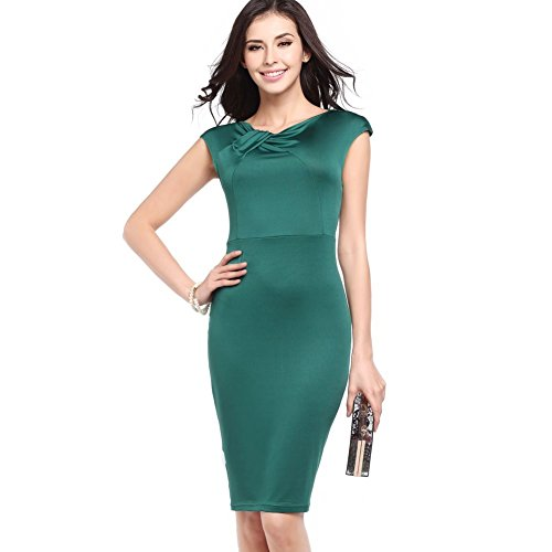 [Women 1950S Retro Short Sleeve Evening Party Knee Length Pencil Bodycon Dress] (H And M Flapper Dress)