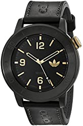 adidas Men's ADH3009 Manchester Stainless Steel Watch with Black Leather Strap