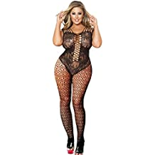 Curbigals crotchless bodystocking Plus Size Open Crotch Teddy Lingerie for Women