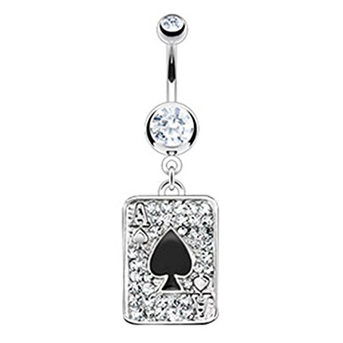 Azzire 316L Surgical Steel Cubic Zirconia Ace of Spades Playing Card Navel...