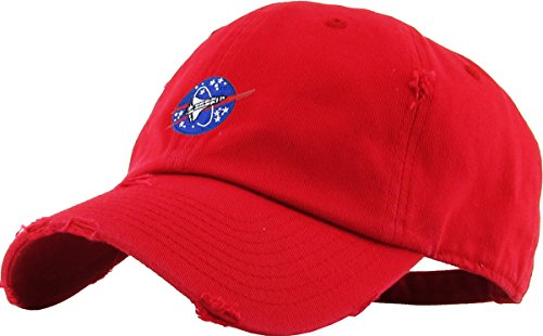 KBSV-044 RED Spaceship Vintage Dad Hat Baseball Cap Polo Style Adjustable