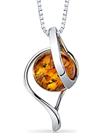 Baltic Amber Open Spiral Pendant Necklace Sterling Silver Cognac Color