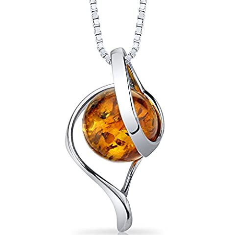 Baltic Amber Open Spiral Pendant Necklace Sterling Silver Cognac Color (Amber And Silver Necklace)