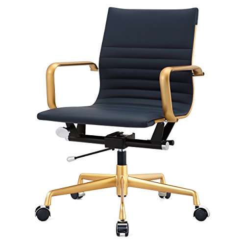 Meelano 348-GD-NVY M348 Home Office Chair 33.93″ x 23.4″ x 22.23″ Gold/Navy Blue