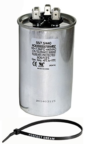 TradePro 55+7.5 uf MFD 370 or 440 Volt Dual Run Round Capacitor Bundle TP-CAP-55/7.5/440R Condenser Straight Cool/Heat Pump Air Conditioner and Zip (Air Variable Capacitor)