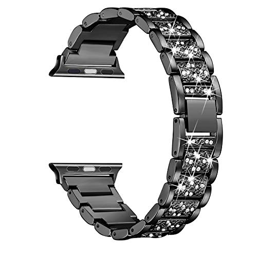 Secbolt Bling Bands Compatible Apple Watch Band 42mm 44mm Iwatch Series 4 3 2 1, Metal Rhinestone Bling Replacement Wristband, ()