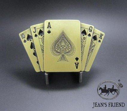belt buckles men western cowboys cool vintage harley ace of spades cards gold (Spade Buckle)