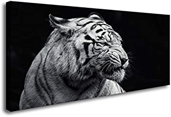 DZL Art D72750 Black and White Tiger Animal Paintings Wall Pictures