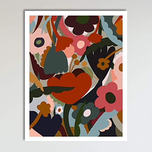 """""""In the Garden"""" Abstract Flowers Floral Wall Art Decor Art Print Poster Modern Contemporary Boho Home Decor 11x14 Inches, Unframed from Vintage Book Art Co."""