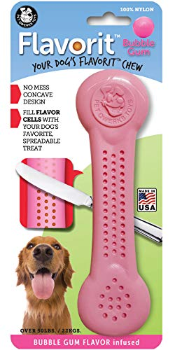 Pet Qwerks Flavorit -Bubble Gum Flavored Nylon Bone for Aggressive Chewers (Made in The USA)