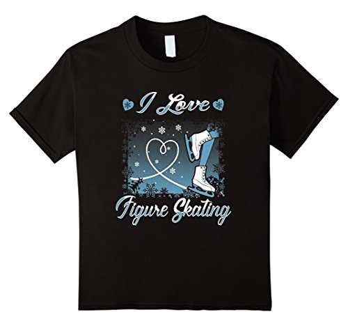 Kids Tshirt | I Love Figure Skating Ice Skater | 2016 12 Black