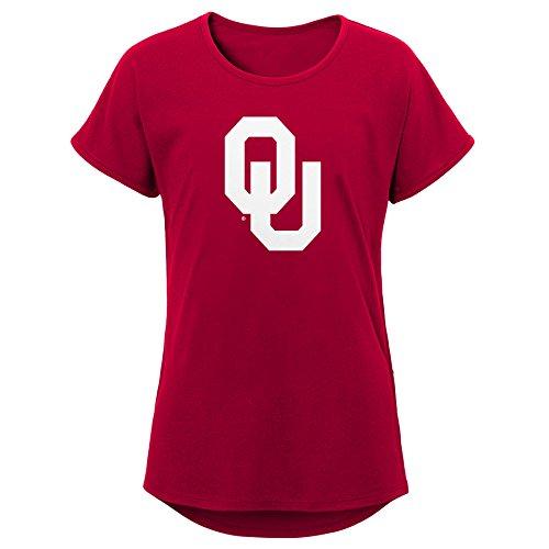 NCAA Oklahoma Sooners Youth Girls Primary Logo Dolman Tee, Youth Girls Small(7-8), Cardinal - Oklahoma Logos Sooners