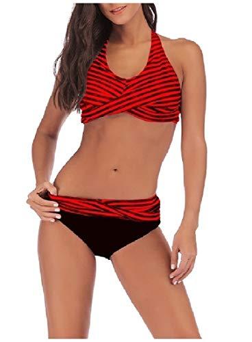 Winwinus Womens Backless Striped Halter Beachwear Swimsuits Bikini 28 M