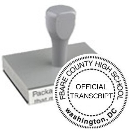 Custom School Seal // Traditional Wood Handled Stamp (Seal) // Seal Design - OFFICIAL TRANSCRIPT // Impression 1 5/8''