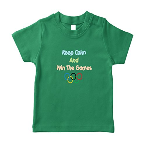 United States Keep Calm and Win The Games Olympic Cotton Short Sleeve Crewneck Unisex Toddler T-Shirt Jersey - Kelly Green, 18 Months