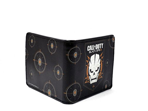 CALL OF DUTY BLACK OPS !!! SKULL ICON PRINTED BI-FOLD LEATHER WALLET 4 BY 4 INCH