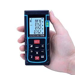 ZOEYEC 492ft Handheld Digital Laser Distance Meter 150M Rangefinder Tape Measure Area Volume Range finder Tester With Air Bubble Level SW-E150