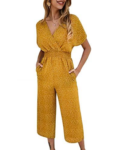 KIRUNDO 2019 Summer Women's Polka Dot Jumpsuit Sexy V Neck Long Wide Legs Short Sleeves Two Sides Pockets (Small, Yellow)