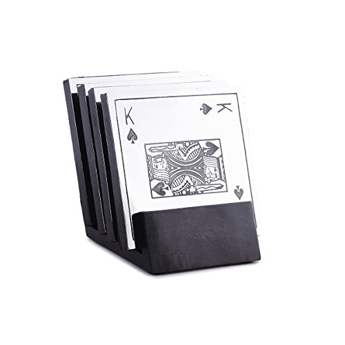 The Royal Collection Wooden Coasters and Holder Set with Playing Card Design Carving on Steel ()