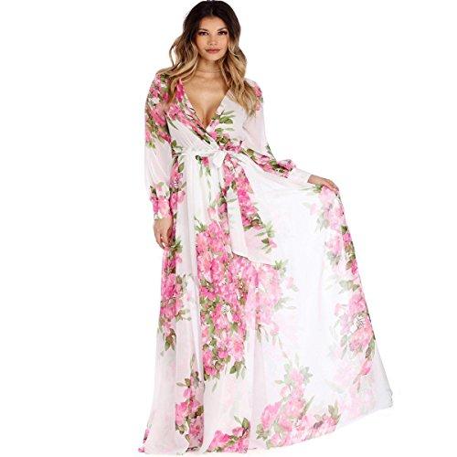 Womens Boho Maxi Dresses Chiffon Split Floral Print Long Sleeve Beach Dresses with Adjustable Wrap Deep V Neck (XXL, White Rose)