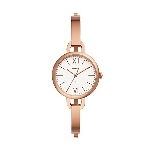 Fossil Women's 'Annette' Quartz Stainless Steel Casual Watch, Color:Rose Gold-Toned (Model: - White And Gold Watch Rose Fossil