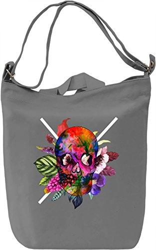 Colorful Skull Borsa Giornaliera Canvas Canvas Day Bag  100% Premium Cotton Canvas  DTG Printing 