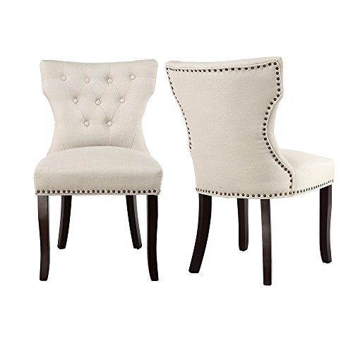 LSSBOUGHT Set of 2 Fabric Dining Chairs Leisure Padded Chairs with Brown Solid Wooden Legs,Nailed Trim (Beige) by LSSBOUGHT
