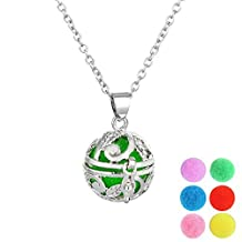 MJARTORIA Silver Color Aromatherapy Essential Oil Diffuser Locket Pendant Necklace with 6 Pads