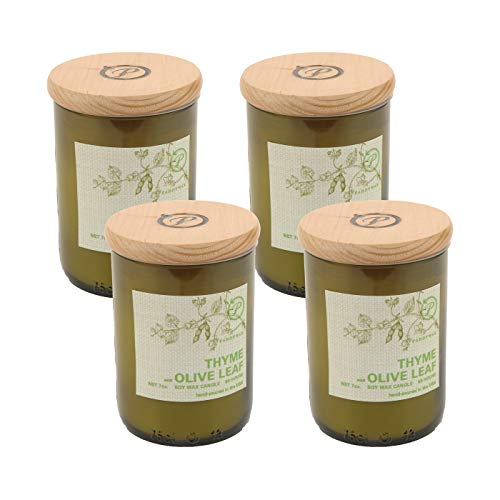 Paddywax Eco Green Recycled Glass Candle, 8-Ounce, Thyme & Olive Leaf - Set of 4