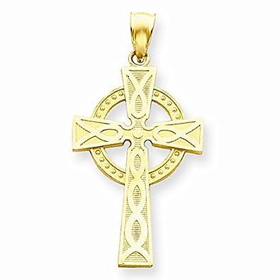 Amazoncom 14K Yellow Gold Celtic Cross Pendant Jewelry Pilot Jewelry