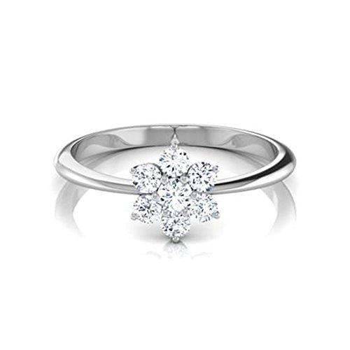 18K Or Blanc, 0,5carat Diamant Taille ronde (IJ | SI) en diamant
