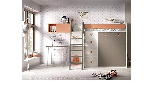 Cama Alta Jump 314, Armario, Escalera de Madera, Escritorio y estantería, Elegir: Amazon.es: Juguetes y juegos