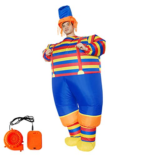 Winsummer Inflatable Clown Costume Adult Clown Jumpsuit Cosplay Costumes Mardi Gras Fancy Dress Up Role Play Costume Kit]()