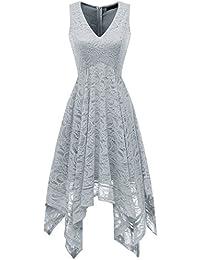 Women's V-Neck Sleeveless Asymmetrical Handkerchief Hem Lace Cocktail Dress