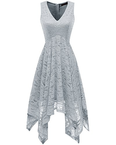 Cocktail Gray (Bridesmay Women's V-Neck Sleeveless Asymmetrical Handkerchief Hem Lace Cocktail Dress Grey L)