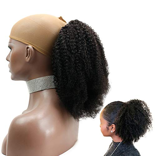 FUNTRESS Afro Kinky Curly Human Hair Ponytail for Black Women Short Brazilian Virgin Human Hair Ponytail 120g Drawstring with 2 Clips(14 Inch, Kinky Curly) (Cute Updo Hairstyles For Short Curly Hair)