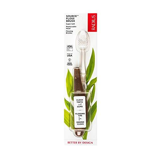 RADIUS Toothbrush Source Floss Brush BPA Free & ADA Accepted Improve Gum Health & Reduce Gum Issues – Super Soft – Wood…