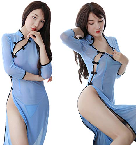 Aiybao Womens Sexy Cosplay Costume Cheongsam Lingerie Strappy Corset Nightie Sleepwear Underwear Dress (Blue 2) (Dress Chinese Chinese Dresses)