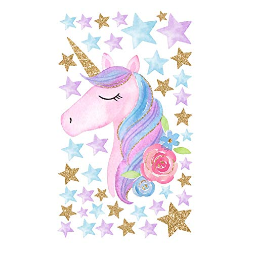 Door Cartoon - Amaonm Creative Cartoon Rainbow Unicorn with Colorful Stars Wall Decals Removable PVC Wall Art Decor Home Wall Decoration 3D DIY Stickers Murals for Girls Rooms Kids Bedroom Living Room Doors (Star)