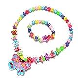 Oaonnea Mermaid Scales Heart Pendant Necklace Bracelet Flower Earrings Stud Jewelry Set for Kids