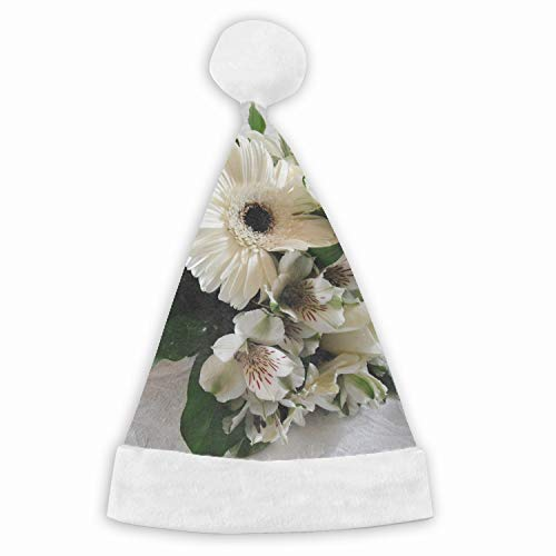 Santa Hat,Gerbera Roses Alstroemeria Bouquet Unisex Velvet Fabric Christmas Hat with Comfort Lining&Plush Brim