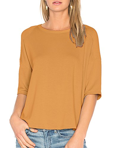 (ALLY-MAGIC Womens Cotton T-Shirt 3/4 Sleeves Casual Loose Top Blouse C4722 (L, Coffee))