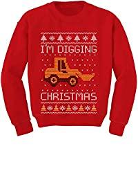 Tstars - I'm Digging Christmas Ugly Sweater Tractor Toddler/Kids Sweatshirt
