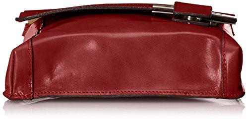 CTM Umhängetasche Unisex, 22x26x6cm, echtes Leder 100% Made in Italy Rot (Rosso)