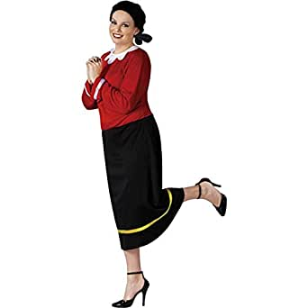 FunWorld Women's Olive Oyl Costume - Plus Size 1X/2X - Dress Size 16-20