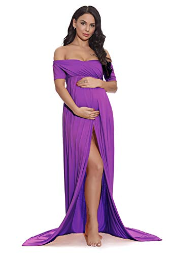 Open Front Strapless Gown - ZIUMUDY Maternity Off Shoulder Strapless Gown Split Front Maxi Photoshoot Photography Dress (Purple)