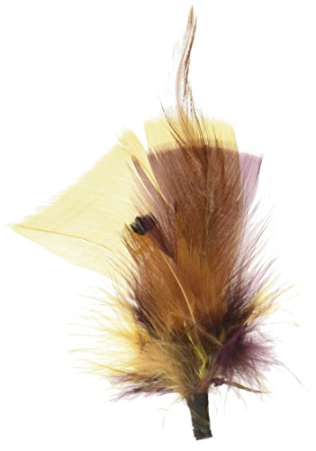 Midwest Design 3-Inch Feather Picks, 3-Pack, Gold/Merlot/Natural