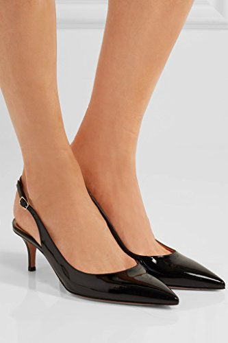 EDEFS Womens Pointed Toe Slingback Court Shoes Kitten Heel Dress Pumps with 6.5cm Heel Black LCpBK9sym