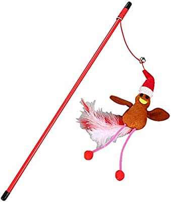 Cat Toys - Pets Toys Funny Christmas Series Cat Stick Wand Plush Catcher Teaser Pet Gatos - Dispensing Dollars Prime Butterfly Filled Tunnel Kids Pizza ...